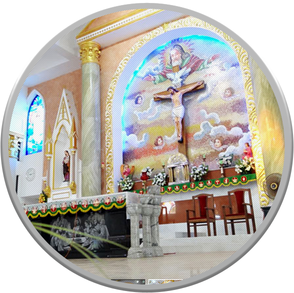 The Church Altar and mural.